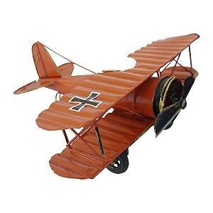 Decorativo Avião Pequeno Vermelho de Metal