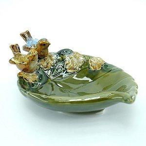 Porta Objetos Passarinho de Cerâmica Verde
