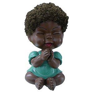 Cofre Bebê Negra Vestidinho Verde Grande