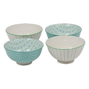 Jogo c/ 4 Bowls de Porcelana Azul Claro