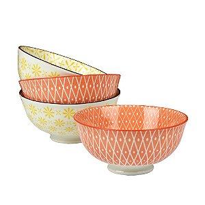 Jogo c/ 4 Bowls de Porcelana Laranja