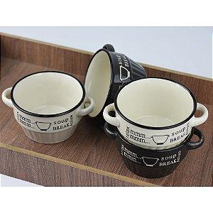 Jogo 4 Bowls Relax Soup Break Preto e Branco