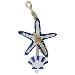 Cabideiro de Madeira Estrela do Mar Azul