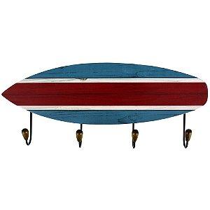 Cabideiro Prancha de Surf Azul e Vermelho