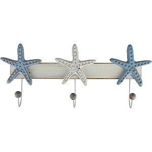 Cabideiro de Parede de Madeira Estrelas do Mar