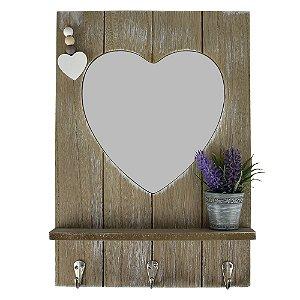 Porta Chaves Espelho Coração