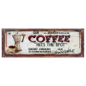 Placa de Metal Coffee Delicious