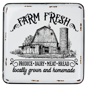 Placa de Metal Farm Fresh 35x40cm