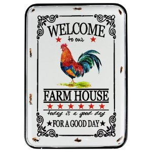 Placa de Metal Farm House 32x22cm