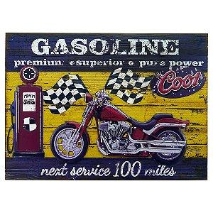 Quadro Gasoline Moto Vermelho