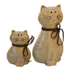Enfeite Conjuntos c/2 Gatos Cerâmica