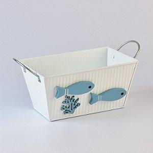 Vaso Retangular Branco com Peixes