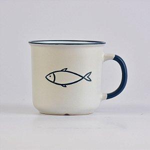 Caneca Grande Ocean Peixe Branca em Cerâmica