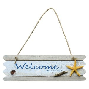 Placa Welcome com Estrela em Madeira