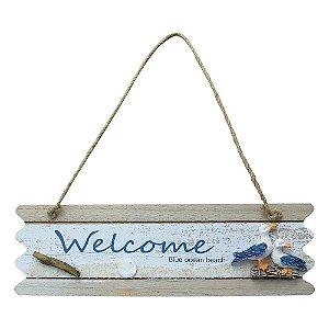 Placa Welcome com Gaivota em Madeira