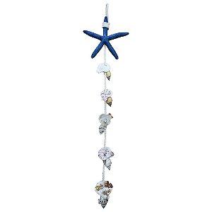 Enfeite Suspenso Náutico Estrela do Mar Azul e Conchas em Resina
