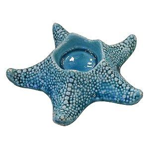 Porta Velas Estrela Azul Grande em Cerâmica