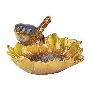 Porta Objetos Girassol Marrom com Pássaro