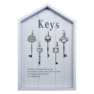 Porta Chaves Keys Branco em Madeira