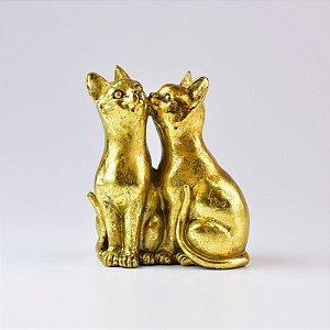 Enfeite Gatos Kiss Dourado em Resina