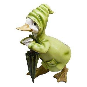 Enfeite Pato com Casaco em Resina