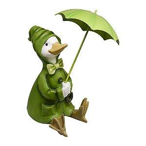 Enfeite Pato na Chuva em Resina
