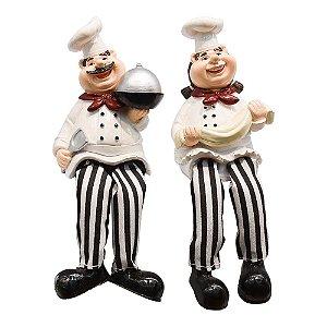 Conjunto de Cozinheiros Chefe de Cozinha em resina