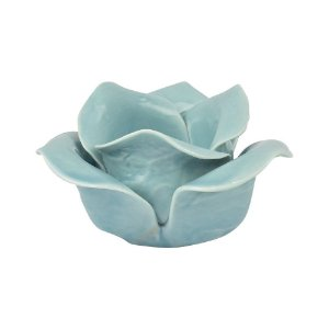 Porta velas Flor em Cerâmica Azul