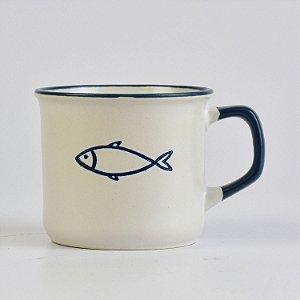 Caneca Ocean Branca Peixe em Cerâmica