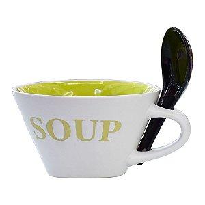 Bowl Soup com Colher Tigela Verde