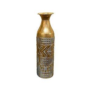 Vaso Indiano Médio em Metal Dourado