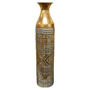 Vaso Indiano Grande em Metal Dourado
