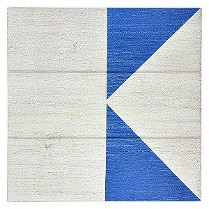 Bandeira Náutica Alfa em Madeira Azul e Branco