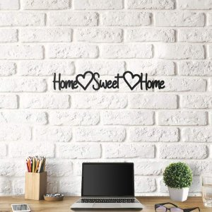 Placa Home Sweet Home em Metal Preto
