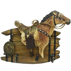 Porta Chaves Cavalo Entalhado em Madeira