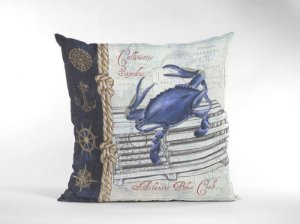 Capa Náutica Caranguejo Azul para Almofada