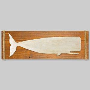 Quadro Marrom com Baleia Branca em Madeira