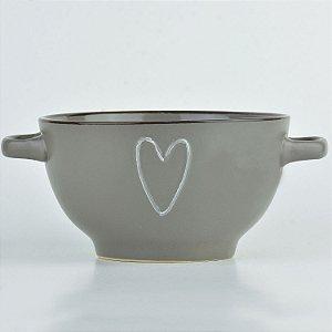 Bowl Coração Cinza em Cerâmica