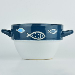 Tigela Branca Peixe em Cerâmica