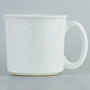 Caneca Texturizada Branca em Cerâmica