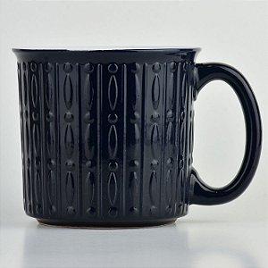 Caneca Texturizada Preta em Cerâmica