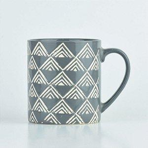 Caneca Abstrato Cinza Triângulos em Cerâmica