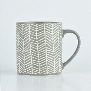 Caneca Abstrato Cinza Linhas em Cerâmica