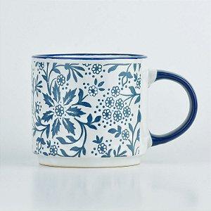 Caneca Branca Flores em Cerâmica