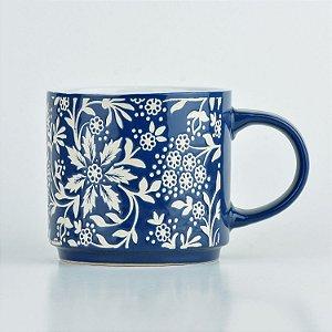 Caneca Azul Flores em Cerâmica
