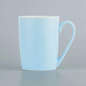 Caneca Azul Coração em Cerâmica