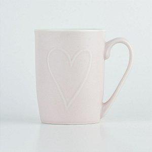 Caneca Rosa Coração em Cerâmica