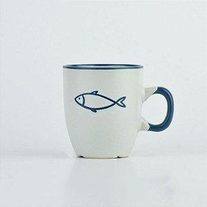 Caneca Oceano Branca Peixe P em Cerâmica