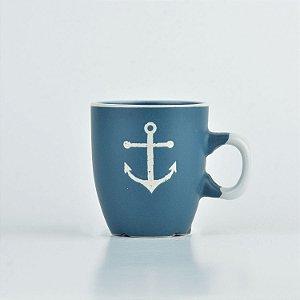 Caneca Oceano Azul Âncora P em Cerâmica