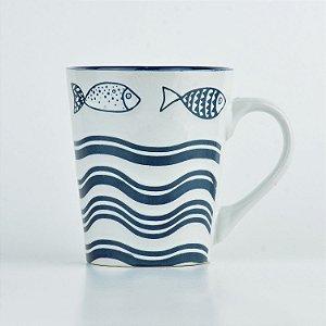 Caneca Mar Lines Peixe em Cerâmica